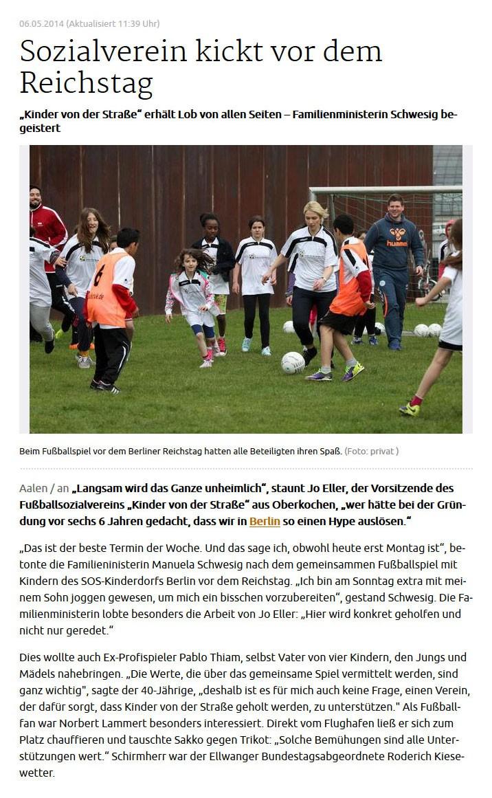 schwaebischede vom 06052014 - Bild 1 - Datum: 06.05.2014 - Tags: Fußballtag in Berlin vor dem Bundestag, Pressebericht, AKTION FUSSBALLTAG e.V.