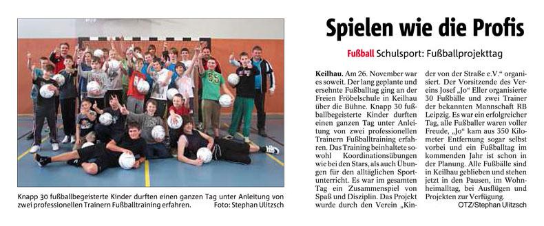 Ostthueringer Zeitung vom 24122013 - Bild 1 - Datum: 13.05.2014 - Tags: Pressebericht, AKTION FUSSBALLTAG e.V.