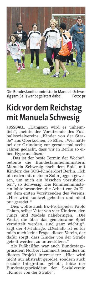 Remszeitung vom 10052014 - Bild 1 - Datum: 27.05.2014 - Tags: Fußballtag in Berlin vor dem Bundestag, Pressebericht, AKTION FUSSBALLTAG e.V.