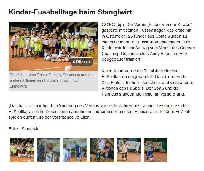 meinbezirkat - Bild 1 - Datum: 09.06.2014 - Tags: Fußballtag in Österreich beim Stanglwirt, Pressebericht, AKTION FUSSBALLTAG e.V.