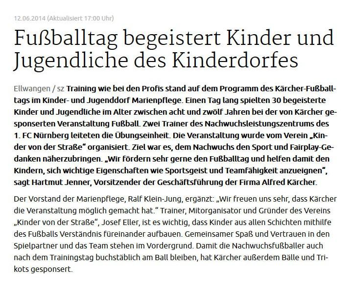 schwaebischede vom 12062014 - Bild 1 - Datum: 17.06.2014 - Tags: Kärcher, Pressebericht, AKTION FUSSBALLTAG e.V.
