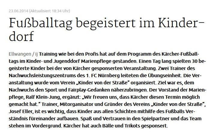 schwaebischede vom 23062014 - Bild 1 - Datum: 25.06.2014 - Tags: Kärcher, Pressebericht, AKTION FUSSBALLTAG e.V.