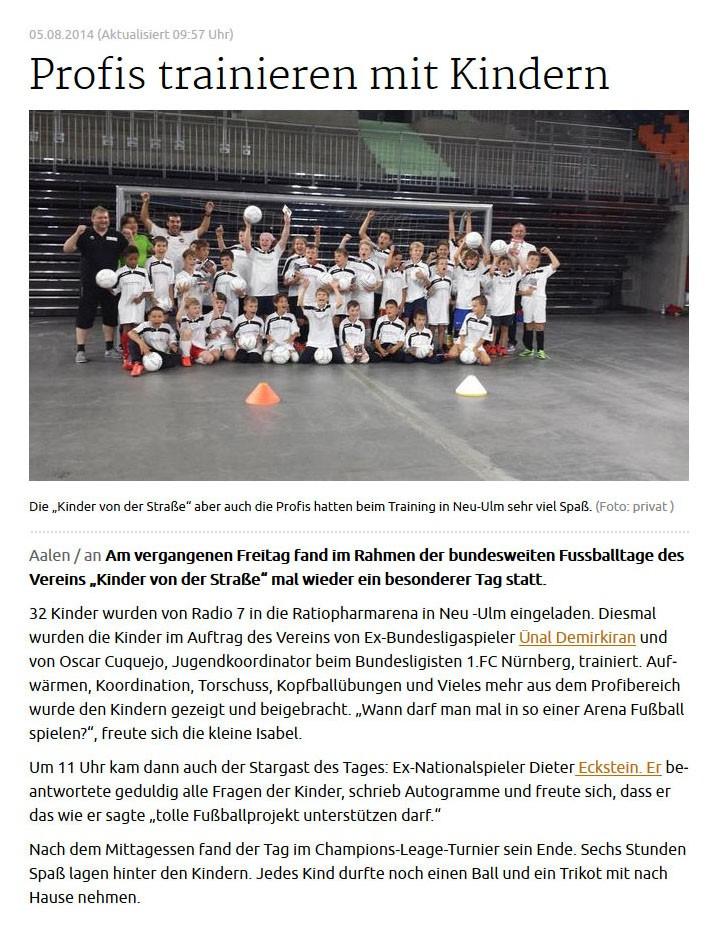 schwaebischede vom 05082014 - Bild 1 - Datum: 06.08.2014 - Tags: Fußballtag ratiopharm Arena Neu-Ulm, Pressebericht, Radio 7, AKTION FUSSBALLTAG e.V.