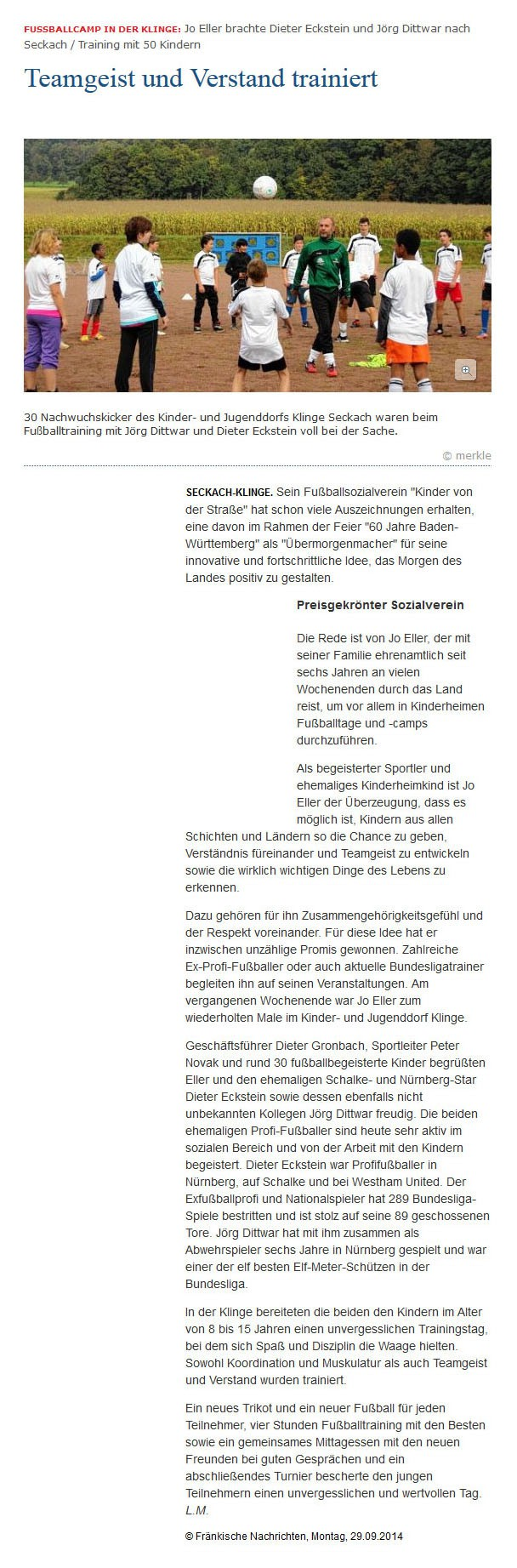 Fraenkische Nachrichten vom 29092014 - Bild 1 - Datum: 29.09.2014 - Tags: Pressebericht, AKTION FUSSBALLTAG e.V.