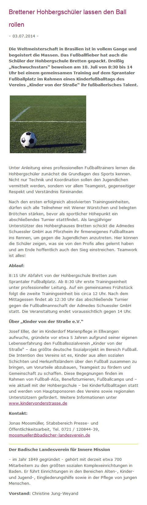 Badischer Landesverein fuer Innere Mission vom 03072014 - Bild 1 - Datum: 12.10.2014 - Tags: Pressebericht, AKTION FUSSBALLTAG e.V.