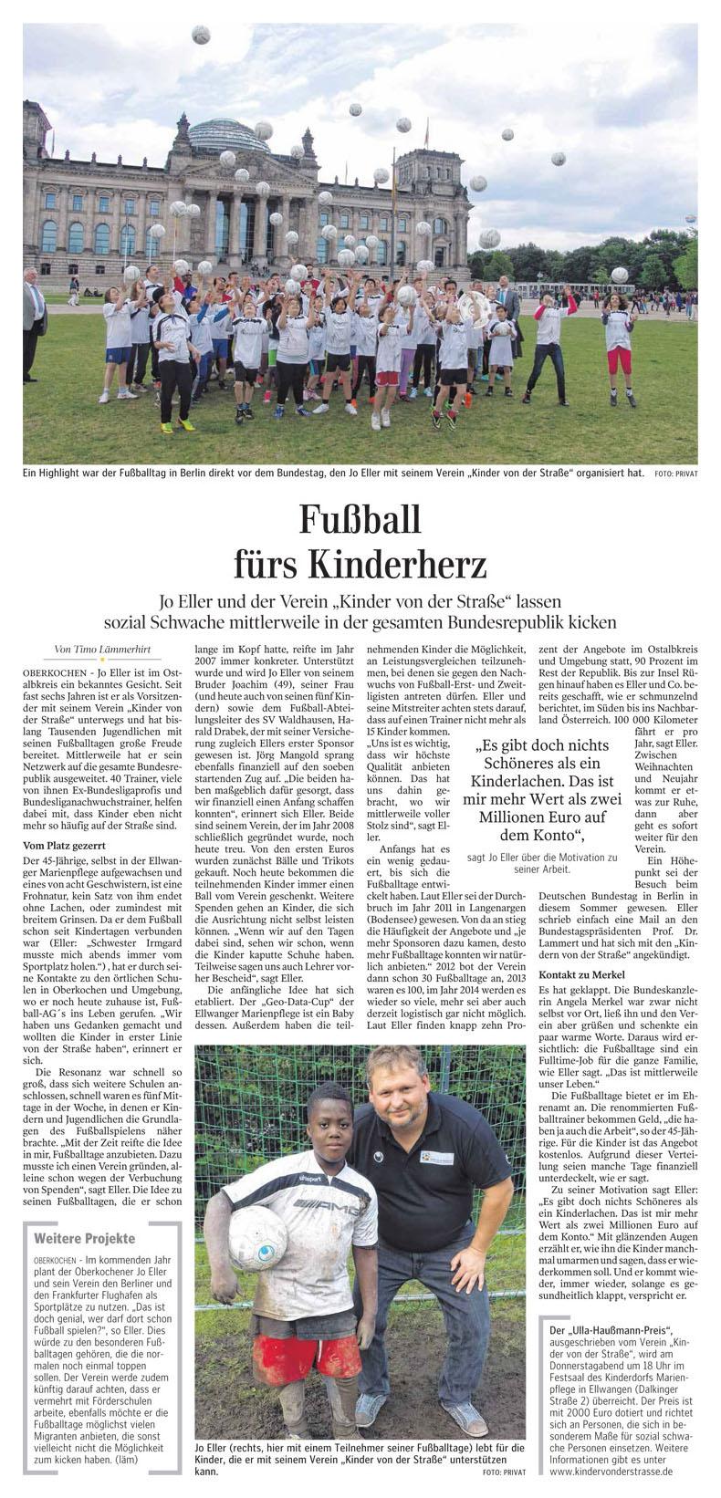 Ipf und JagstZeitung  Aalener Nachrichten vom 27112014 - Bild 1 - Datum: 27.11.2014 - Tags: Besonderes, Pressebericht, AKTION FUSSBALLTAG e.V.