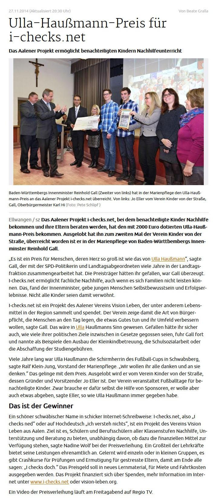 schwaebischede vom 27112014 - Bild 1 - Datum: 06.12.2014 - Tags: Pressebericht, Ulla Haußmann Gedächtnispreis, AKTION FUSSBALLTAG e.V.