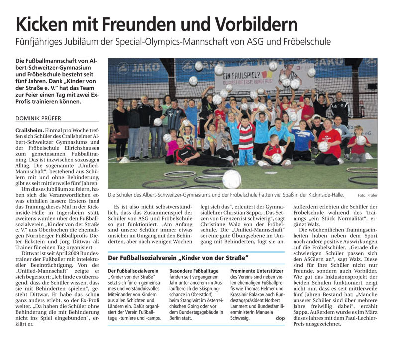 Hohenloher Tagblatt vom 18122014 - Bild 1 - Datum: 12.01.2015 - Tags: Pressebericht, AKTION FUSSBALLTAG e.V.