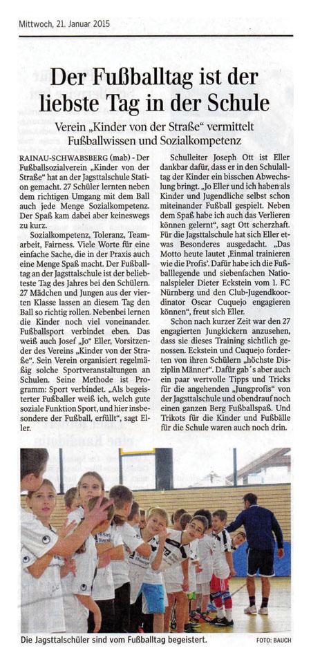 Aalener Nachrichten  Ipf und JagstZeitung vom 21012015 - Bild 1 - Datum: 21.01.2015 - Tags: Pressebericht, AKTION FUSSBALLTAG e.V.
