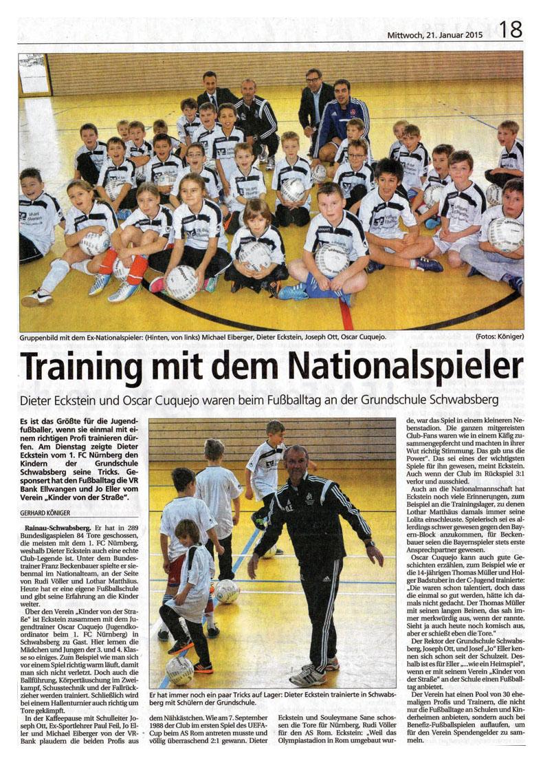 Schwaepo vom 21012015 - Bild 1 - Datum: 21.01.2015 - Tags: Pressebericht, VR Bank Ellwangen, AKTION FUSSBALLTAG e.V.