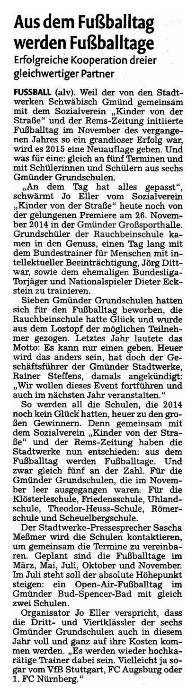 RemsZeitung vom 07022015 - Bild 1 - Datum: 10.02.2015 - Tags: Pressebericht, Stadtwerke Schwäbisch Gmünd, AKTION FUSSBALLTAG e.V.