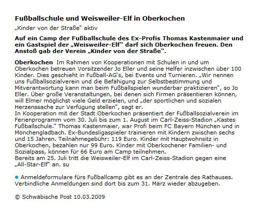 Schwaepo vom 10032009 - Bild 1 - Datum: 10.03.2009 - Tags: Pressebericht, AKTION FUSSBALLTAG e.V.