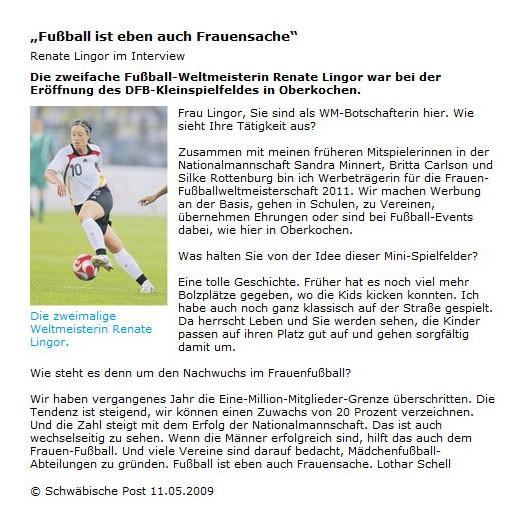 Schwaepo vom 11052009 - Bild 1 - Datum: 12.05.2009 - Tags: Pressebericht, AKTION FUSSBALLTAG e.V.