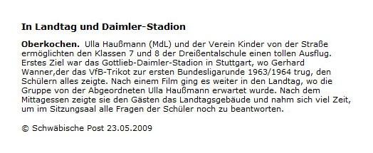 Schwaepo vom 23052009 - Bild 1 - Datum: 26.05.2009 - Tags: Pressebericht, AKTION FUSSBALLTAG e.V.