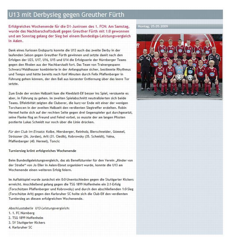 Internetseite des 1 FC Nuernberg vom 25052009 - Bild 1 - Datum: 08.06.2009 - Tags: Pressebericht, AKTION FUSSBALLTAG e.V.