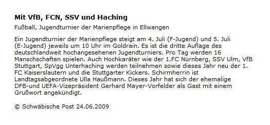 Schwaepo vom 24062009 - Bild 1 - Datum: 03.07.2009 - Tags: Pressebericht, AKTION FUSSBALLTAG e.V.