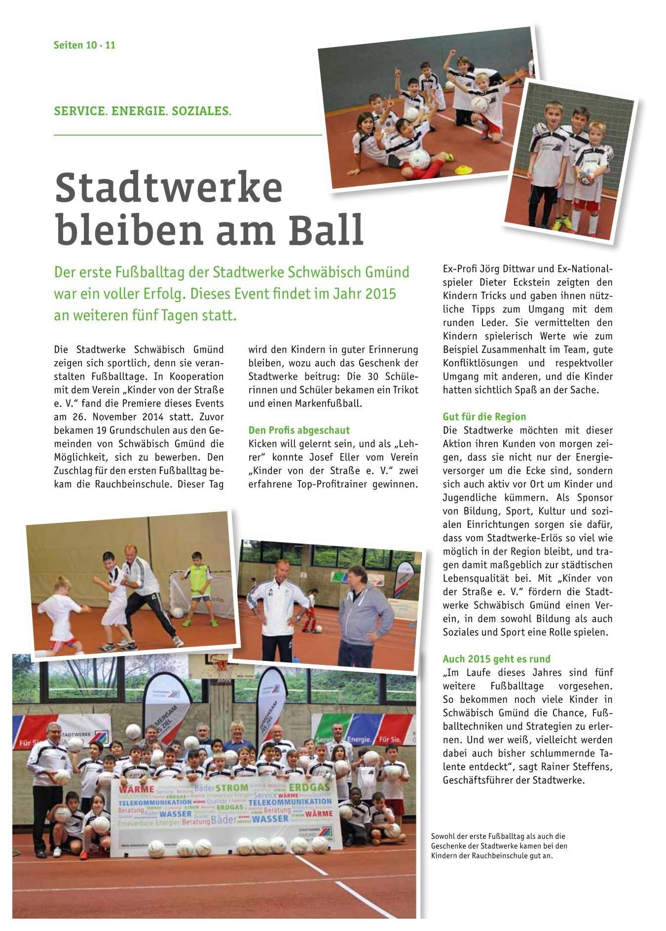 Kundenzeitschrift der Stadtwerke Schwaebisch Gmuend 12015 - Bild 1 - Datum: 30.01.2015 - Tags: Pressebericht, AKTION FUSSBALLTAG e.V.