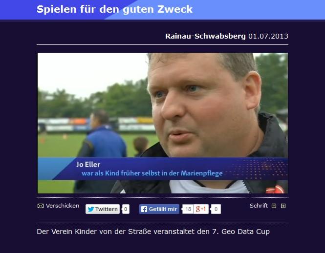 Bericht von regioTV ueber den GeoDataCup in Schwabsberg vom 01072013 - Bild 1 - Datum: 01.07.2013 - Tags: Besonderes, regioTV, Videobericht, AKTION FUSSBALLTAG e.V.