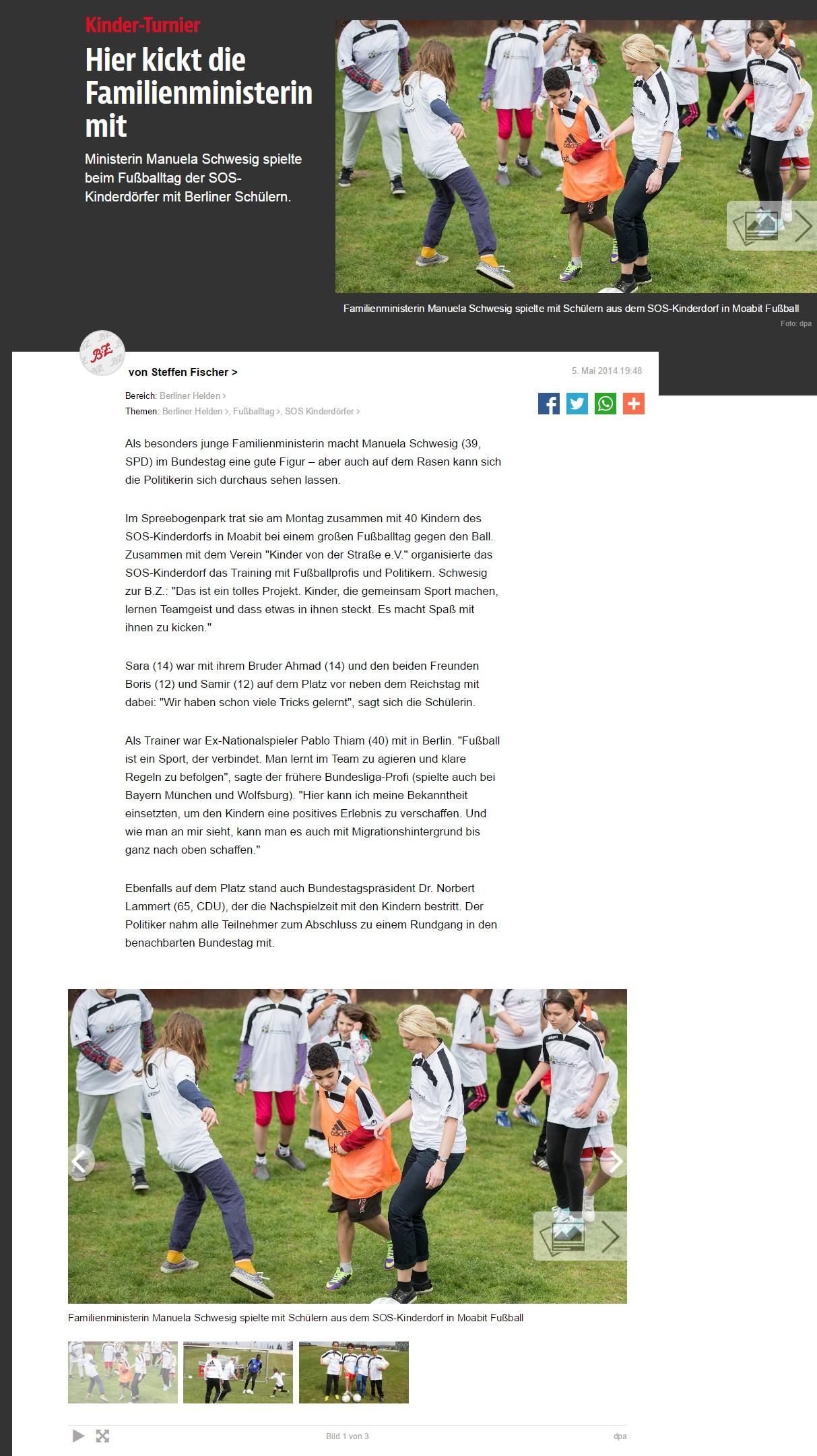 bzberlinde vom 05052014 - Bild 1 - Datum: 05.05.2014 - Tags: Besonderes, Fußballtag in Berlin vor dem Bundestag, Pressebericht, AKTION FUSSBALLTAG e.V.