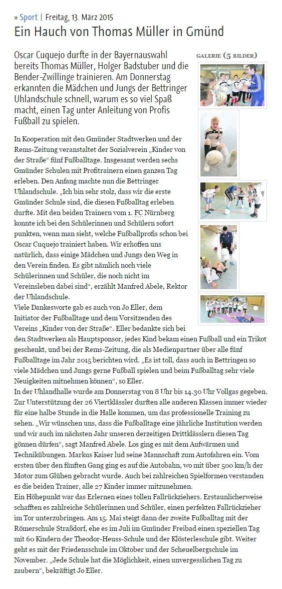 remszeitungde vom 13032015 - Bild 1 - Datum: 15.03.2015 - Tags: Pressebericht, Stadtwerke Schwäbisch Gmünd, AKTION FUSSBALLTAG e.V.