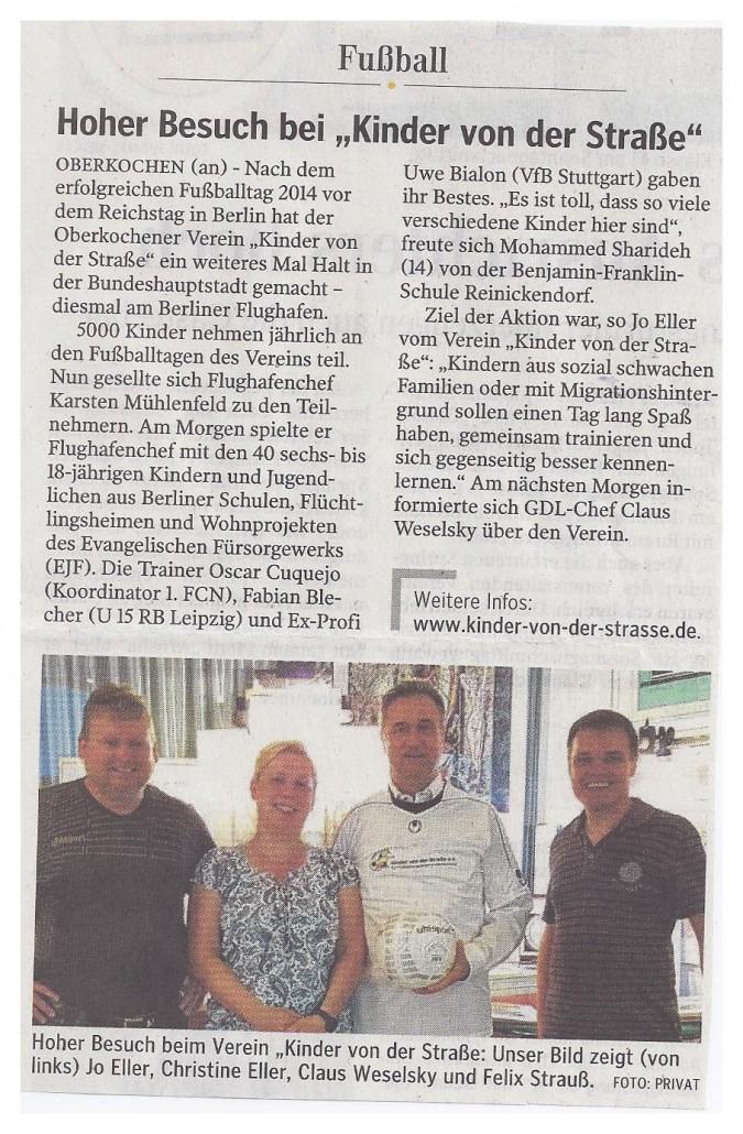 Aalener Nachrichten vom 27052015 - Bild 1 - Datum: 27.05.2015 - Tags: Fußballtag Flughafen Berlin Brandenburg, Pressebericht, AKTION FUSSBALLTAG e.V.