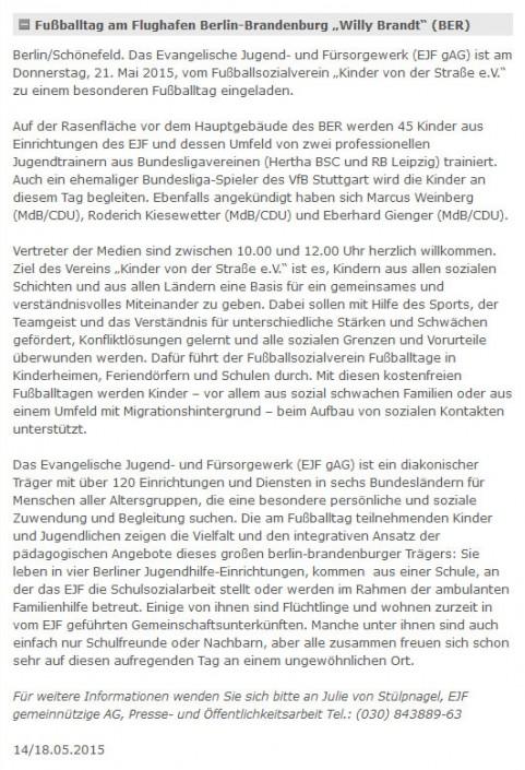 Presseberichte - Bild 14 - Datum: 27.03.2015 - Tags: AKTION FUSSBALLTAG e.V.