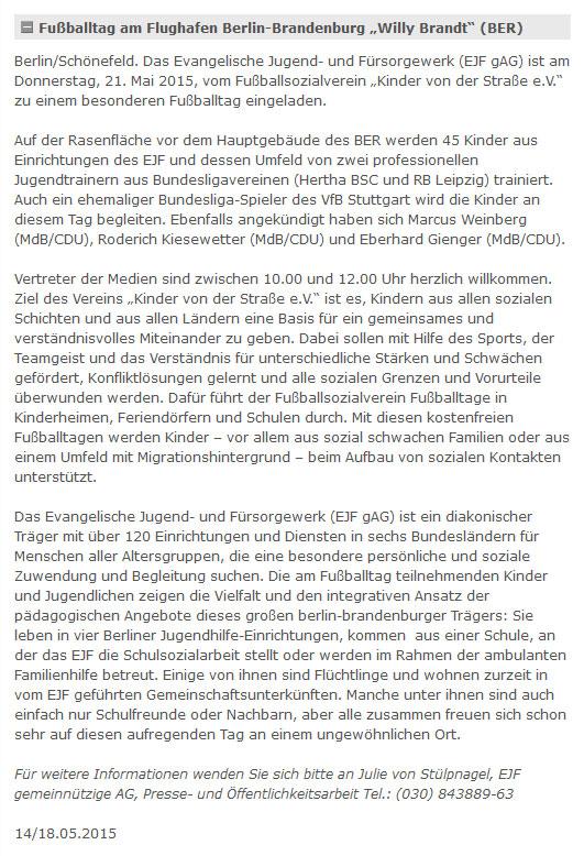 EJF vom 18052015 - Bild 1 - Datum: 18.05.2015 - Tags: Fußballtag Flughafen Berlin Brandenburg, Pressebericht, AKTION FUSSBALLTAG e.V.