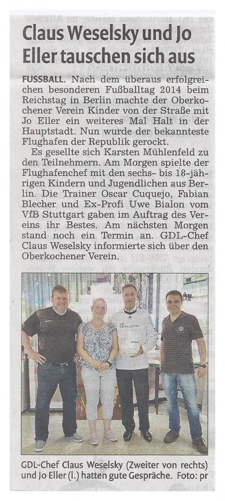Remszeitung vom 27052015 - Bild 1 - Datum: 27.05.2015 - Tags: Fußballtag Flughafen Berlin Brandenburg, Pressebericht, AKTION FUSSBALLTAG e.V.