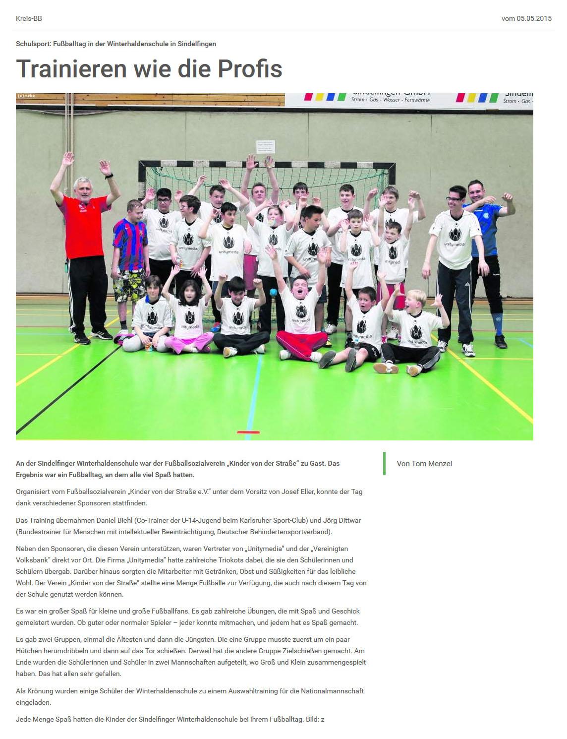Sindelfinger  Boeblinger Zeitung vom 05052015 - Bild 1 - Datum: 05.05.2015 - Tags: Pressebericht, AKTION FUSSBALLTAG e.V.