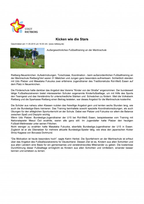 Presseberichte - Bild 16 - Datum: 27.03.2015 - Tags: AKTION FUSSBALLTAG e.V.