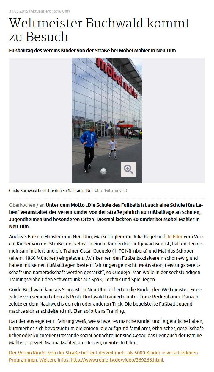 schwaebischede vom 31052105 - Bild 1 - Datum: 31.05.2015 - Tags: Möbel Mahler Neu-Ulm, Pressebericht, AKTION FUSSBALLTAG e.V.