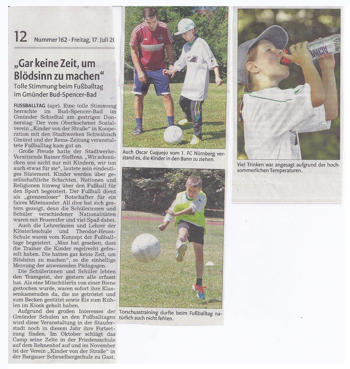Remszeitung vom 17072015 - Bild 1 - Datum: 18.07.2015 - Tags: Pressebericht, Stadtwerke Schwäbisch Gmünd, AKTION FUSSBALLTAG e.V.