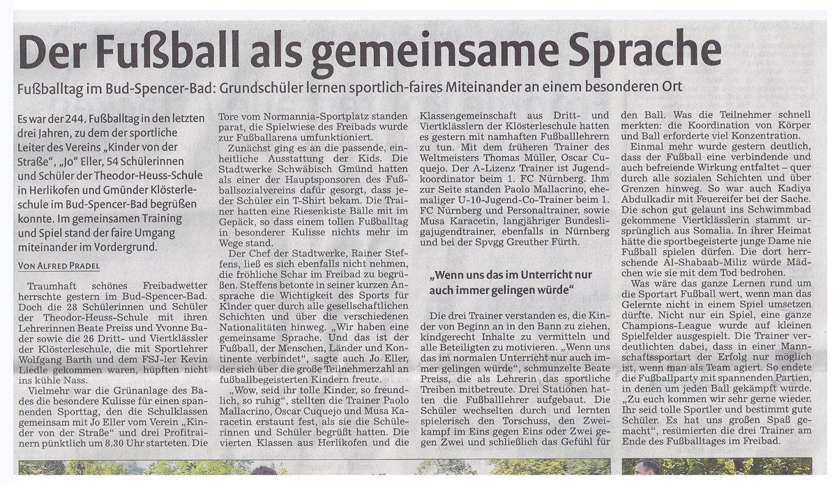 Remszeitung vom 17072015 - Bild 3 - Datum: 18.07.2015 - Tags: Pressebericht, Stadtwerke Schwäbisch Gmünd, AKTION FUSSBALLTAG e.V.