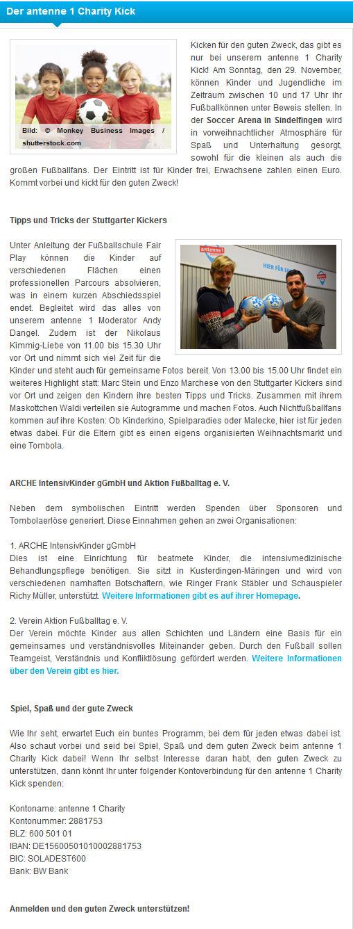 Der antenne1 Charity Kick - Bild 1 - Datum: 01.11.2015 - Tags: Antenne 1, Charity Kick, Pressebericht, AKTION FUSSBALLTAG e.V.