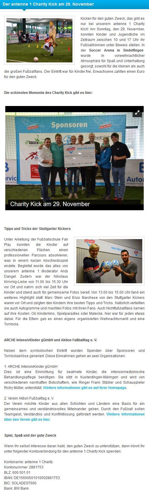Der antenne1 Charity Kick Rueckblick - Bild 1 - Datum: 03.12.2015 - Tags: Antenne 1, Charity Kick, AKTION FUSSBALLTAG e.V.