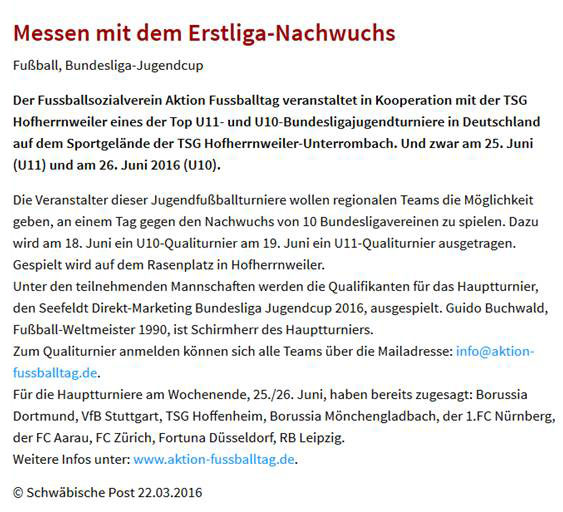 Seefeldt DirektMarketing Bundesliga Jugendcup am 25 und 26062016 in Aalen - Bild 10 - Datum: 25.06.2016 - Tags: Fußballtag, Seefeldt DirektMarketing, AKTION FUSSBALLTAG e.V.
