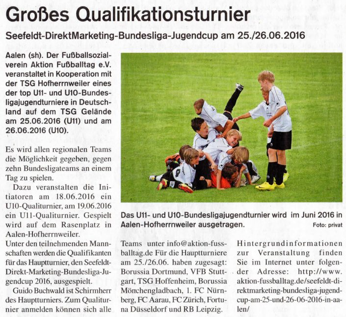 Seefeldt DirektMarketing Bundesliga Jugendcup am 25 und 26062016 in Aalen - Bild 9 - Datum: 25.06.2016 - Tags: Fußballtag, Seefeldt DirektMarketing, AKTION FUSSBALLTAG e.V.