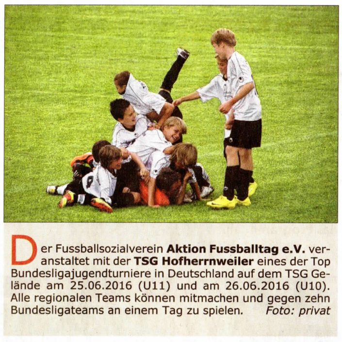 Seefeldt DirektMarketing Bundesliga Jugendcup am 25 und 26062016 in Aalen - Bild 8 - Datum: 25.06.2016 - Tags: Fußballtag, Seefeldt DirektMarketing, AKTION FUSSBALLTAG e.V.