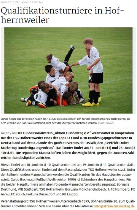 Seefeldt DirektMarketing Bundesliga Jugendcup am 25 und 26062016 in Aalen - Bild 7 - Datum: 25.06.2016 - Tags: Fußballtag, Seefeldt DirektMarketing, AKTION FUSSBALLTAG e.V.