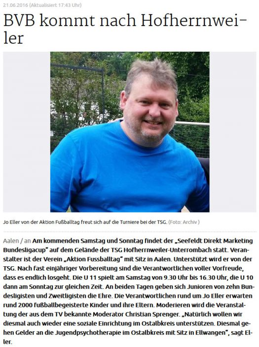 Seefeldt DirektMarketing Bundesliga Jugendcup am 25 und 26062016 in Aalen - Bild 6 - Datum: 25.06.2016 - Tags: Fußballtag, Seefeldt DirektMarketing, AKTION FUSSBALLTAG e.V.