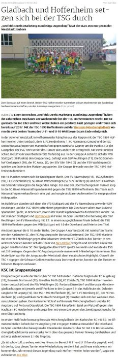 Seefeldt DirektMarketing Bundesliga Jugendcup am 25 und 26062016 in Aalen - Bild 4 - Datum: 25.06.2016 - Tags: Fußballtag, Seefeldt DirektMarketing, AKTION FUSSBALLTAG e.V.