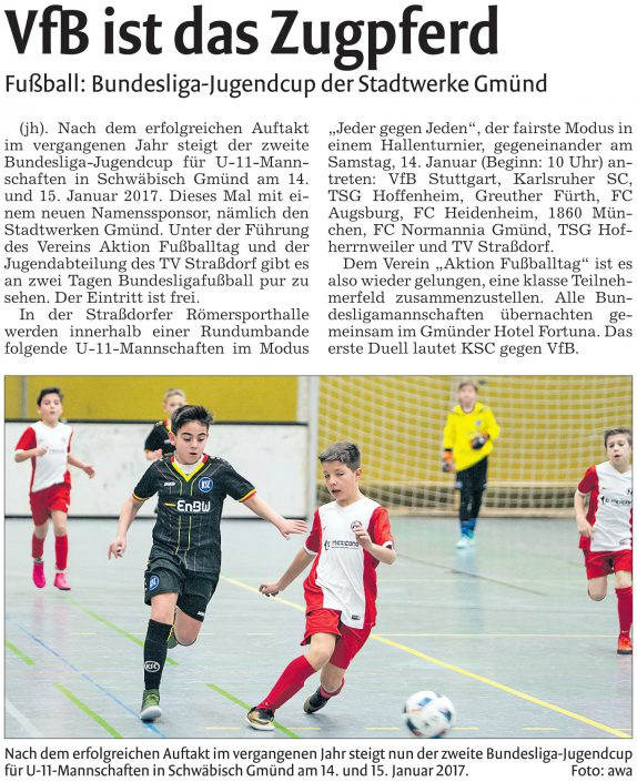 Stadtwerke Gmuend Bundesliga Jugendcup in Schwaebisch Gmuend am 14 und 15012017 - Bild 9 - Datum: 03.01.2017 - Tags: Fußballtag, Schwäbisch Gmünd, Stadtwerke Gmünd Bundesliga Jugendcup, U11 Super Cup, AKTION FUSSBALLTAG e.V.